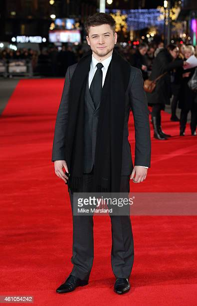 Taron Egerton attends the UK Premiere of 'Testament of Youth' at Empire Leicester Square on January 5 2015 in London England