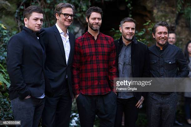 Taron Egerton Colin Firth Gary Barlow Howard Donald and Mark Owen of Take That attend the Kingsman Secret Service Rome Photocall on February 2 2015...