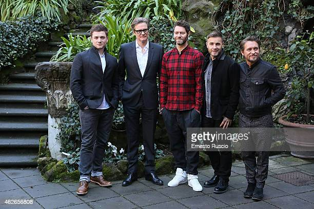 Taron Egerton Colin Firth Gary Barlow Howard Donald and Mark Owen of Thake That attend the 'Kingsman Secret Service' photocall at Hotel De Russie on...