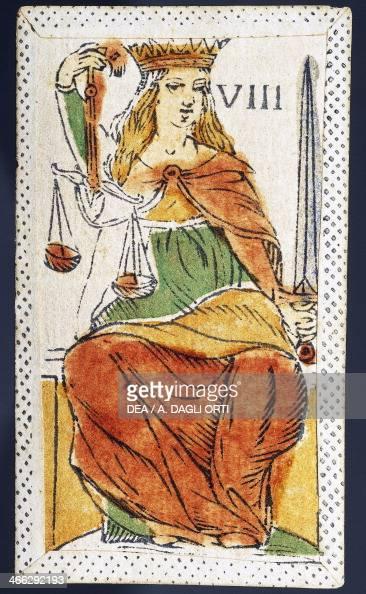 Tarot card depicting Justice Italy 16th century