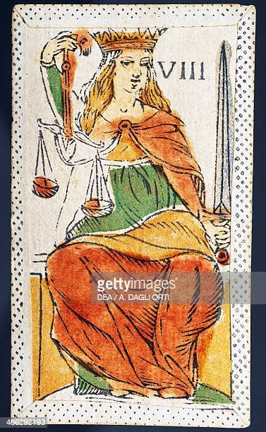 Tarot card depicting Justice Italy 16th century