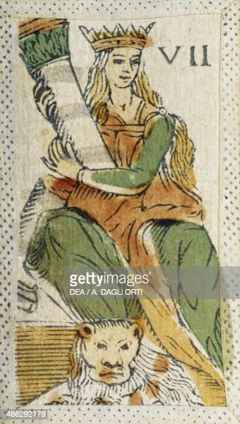 Tarot card depicting Strength Italy 16th century