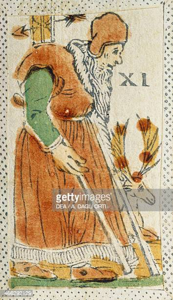 Tarot card depicting the Hermit Italy 16th century