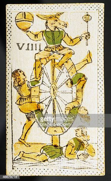 Tarot card depicting the Wheel of Fortune Italy 16th century
