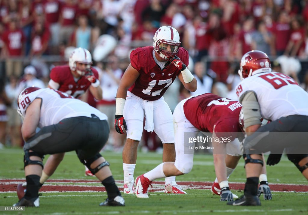 A.J. Tarpley #17 of the Stanford Cardinal during a game against the Washington State Cougars at Stanford Stadium on October 27, 2012 in Palo Alto, California.