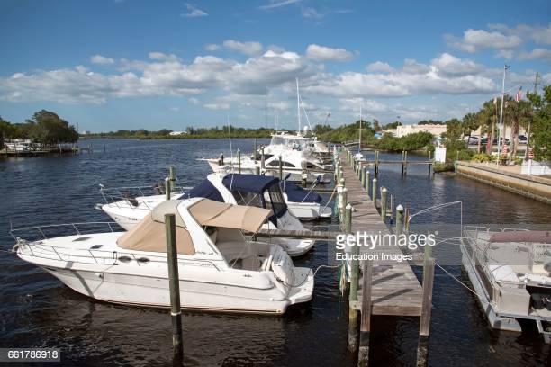 Tarpon Springs Florida USA An overview of pleasure cruisers docked at Tarpon Bayou FL US