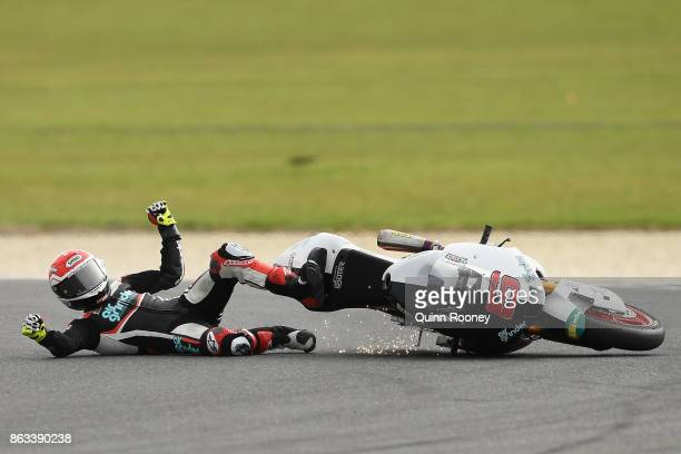Tarran Mackenzie of Great Britain and the Kiefer Racing Team crashes during free practice for the Moto 2 at the 2017 MotoGP of Australia at Phillip...