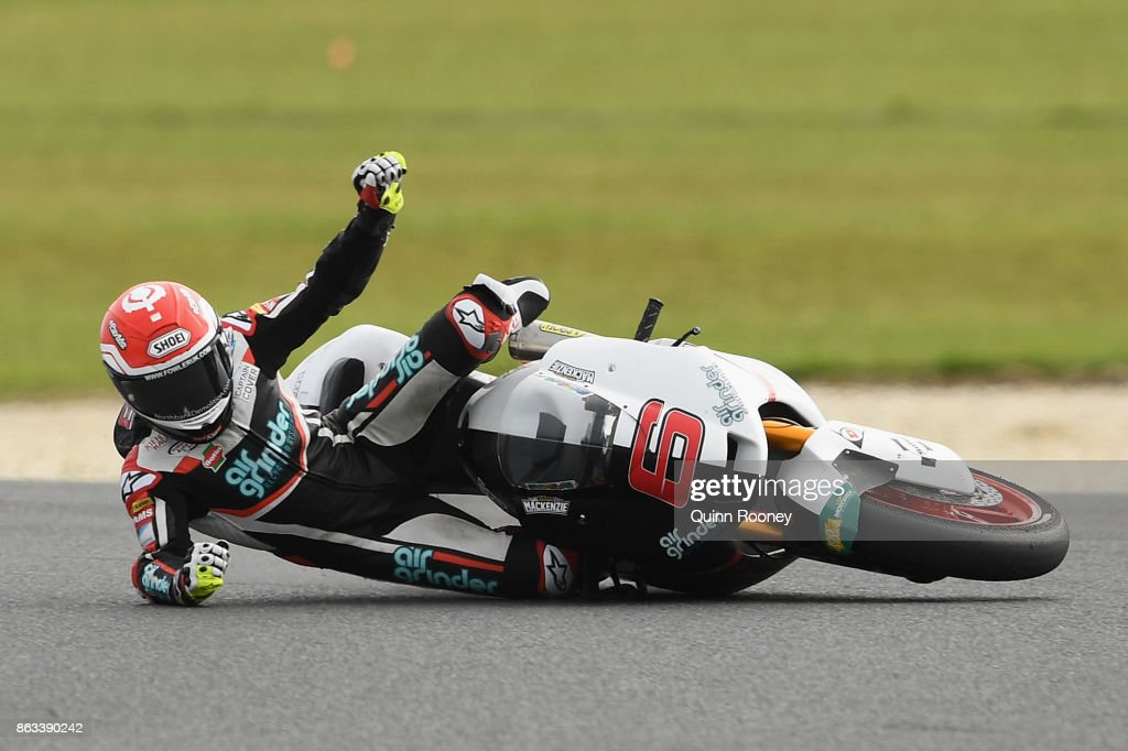 Tarran Mackenzie of Great Britain and the Kiefer Racing Team crashes during free practice for the Moto 2 at the 2017 MotoGP of Australia at Phillip Island Grand Prix Circuit on October 20, 2017 in Phillip Island, Australia.