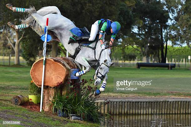 Tarryn Proctor of Victoria comes off her horse Esb Irish Quest and crashes in the water jump in the CCI 3 star Cross Country event during the...