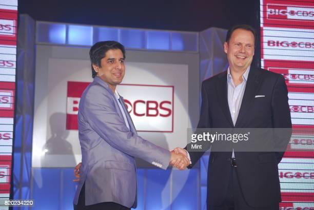 Tarun Katial CEO of Reliance Broadcast Network Limited with Armando Nunez President of CBS Studios International photographed in Mumbai