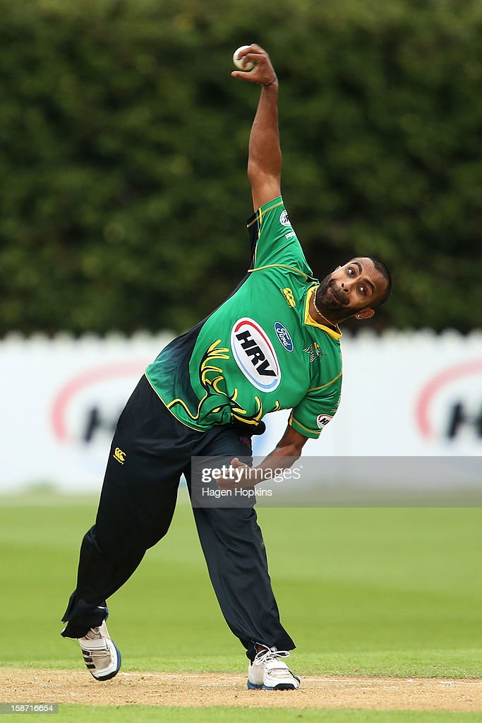 Tarun Nethula of Central Districts bowls during the Twenty20 match between Wellington Firebirds and Central Stags at Hawkins Basin Reserve on December 26, 2012 in Wellington, New Zealand.