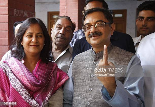 'DEHRADUN INDIA OCTOBER 10 BJP MP Tarun Vijay coming out of from pollig booth after casting his vote in Tehri by poll on October 10 2012 in Dehradun...