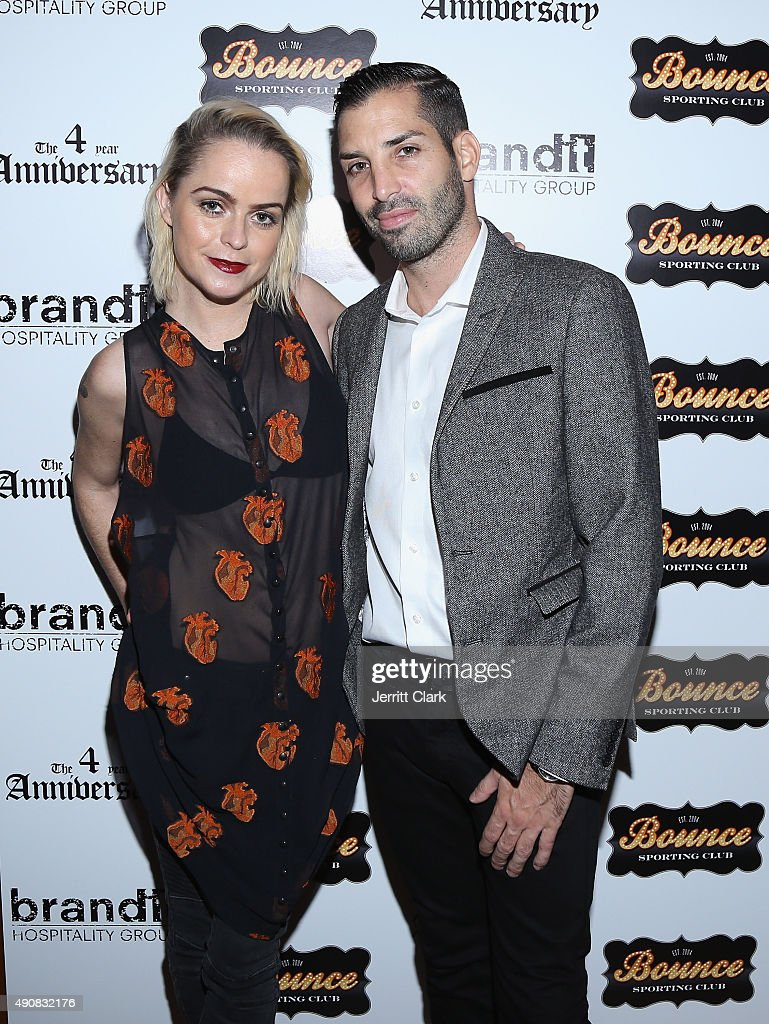 Taryn Manning and Bounce Sporting Club partner Cole Bernard attend the Bounce Sporting Club 4 Year Anniversary Party at Bounce Sporting Club on September 30, 2015 in New York City.