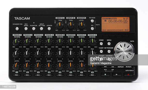 A Tascam DP008 Portastudio portable 8track digital recording device during a studio shoot for Guitarist Magazine December 9 2009