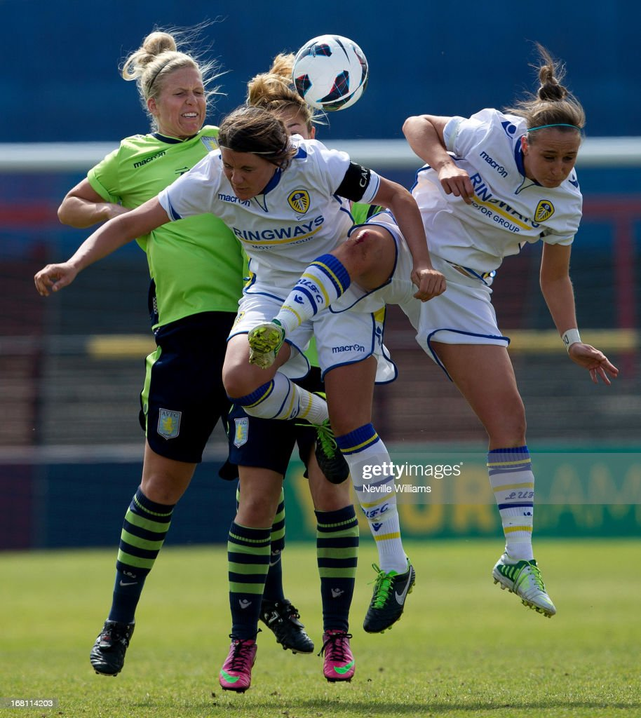 Tash Merritt of Aston Villa Ladies is challenged by Clare Sykes of Leeds United Ladies during the FA Women's Premier League Cup Final match on May 05, 2013 in York, England.