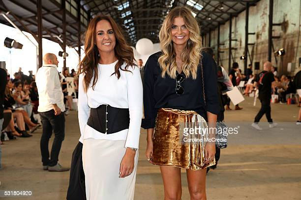 Tash Sefton and Elle Ferguson attend the By Johnny show at MercedesBenz Fashion Week Resort 17 Collections at Blacksmith's Workshop on May 17 2016 in...