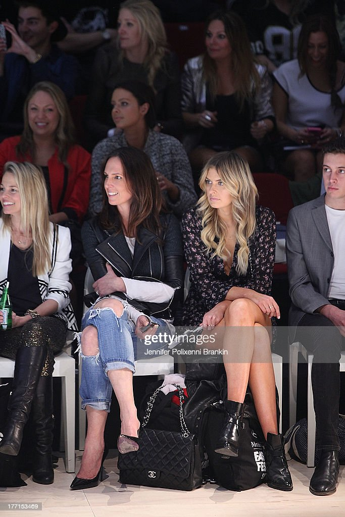 Tash Sefton and Elle Ferguson sit front row at the General Pants show during Mercedes-Benz Fashion Festival Sydney 2013 at Sydney Town Hall on August 21, 2013 in Sydney, Australia.