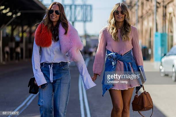 Tash Sefton wearing a Rachel Gilbertau Cleo collar fur scarf a white button shirt with long sleeves a black Chanel bag Off White denim jeans and Elle...