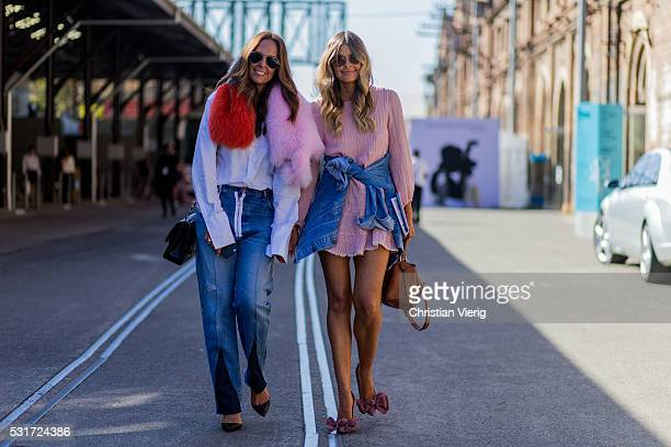Tash Sefton wearing a Rachel Gilbertau Cleo collar fur scarf a white button shirt with long sleeves a black Chanel bag Off White denim jeans and...