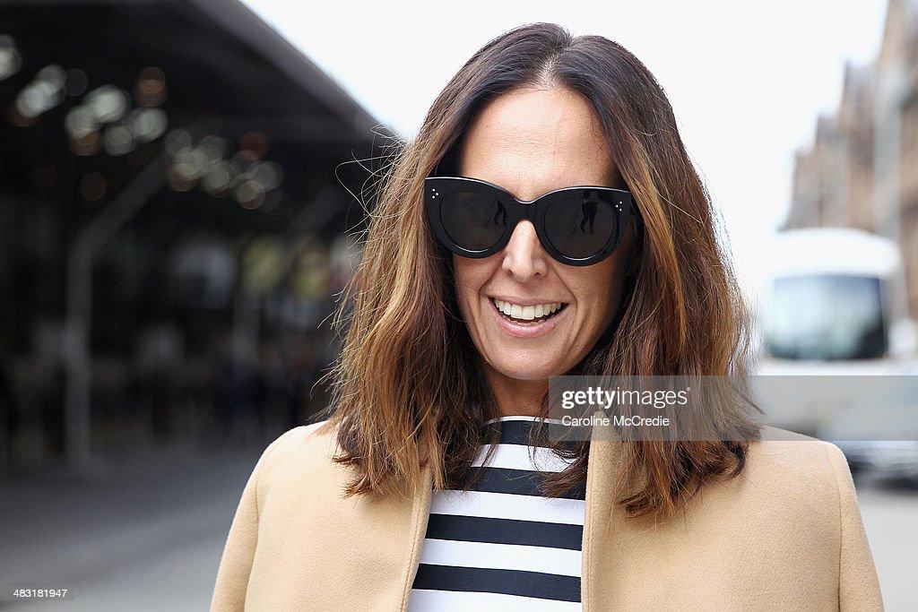 Tash Sefton wearing Bassike shirt and pants, Hermes clutch, Chanel handbag, Zara Jacket and Isabel Marant shoes at Mercedes-Benz Fashion Week Australia 2014 at Carriageworks on April 7, 2014 in Sydney, Australia.