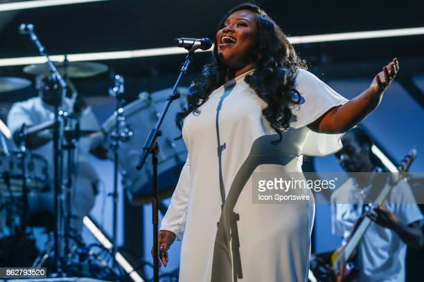 Tasha Cobbs Leonard performs during the 48th Annual GMA Dove Awards in Allen Arena on October 17 2017 in Nashville TN