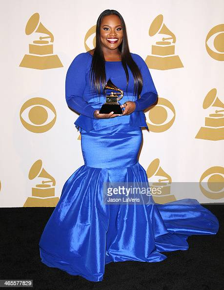 Tasha Cobbs poses in the press room at the 56th GRAMMY Awards at Staples Center on January 26 2014 in Los Angeles California