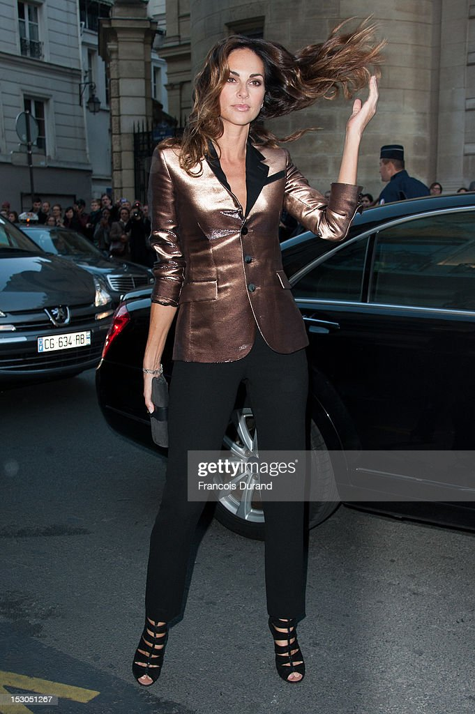 Tasha de Vasconcelos arrives at the Jean-Paul Gaultier Spring / Summer 2013 show as part of Paris Fashion Week on September 29, 2012 in Paris, France.