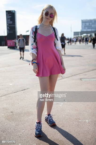 Tasha is wearing vintage Kimono from London HM dress New Balance sneakers and Skinny Dip bag during Primavera Sound 2017 on June 2 2017 in Barcelona...