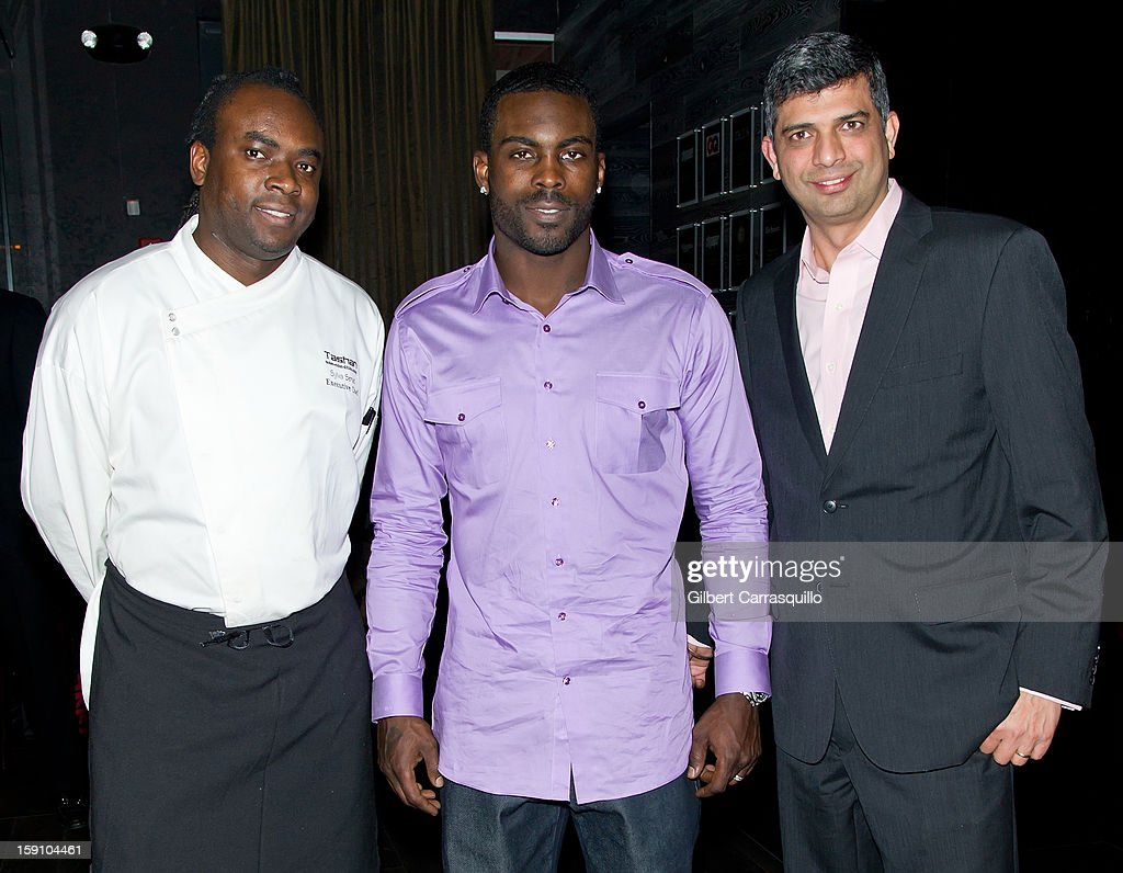 Tashan Restaurant & Lounge Executive Chef Sylva Senat, Philadelphia Eagles QB <a gi-track='captionPersonalityLinkClicked' href=/galleries/search?phrase=Michael+Vick&family=editorial&specificpeople=201746 ng-click='$event.stopPropagation()'>Michael Vick</a> and Tashan Restaurant & Lounge President and CEO Munish Narula attend An Evening With 7, at 7, On the 7th at on January 7, 2013 in Philadelphia City.