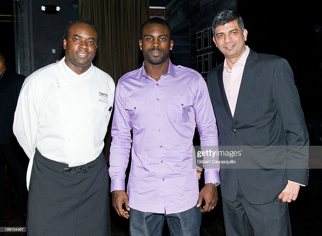 Tashan Restaurant & Lounge Executive Chef Sylva Senat, Philadelphia Eagles QB Michael Vick and Tashan Restaurant & Lounge President and CEO Munish Narula attend An Evening With 7, at 7, On the 7th at on January 7, 2013 in Philadelphia City.