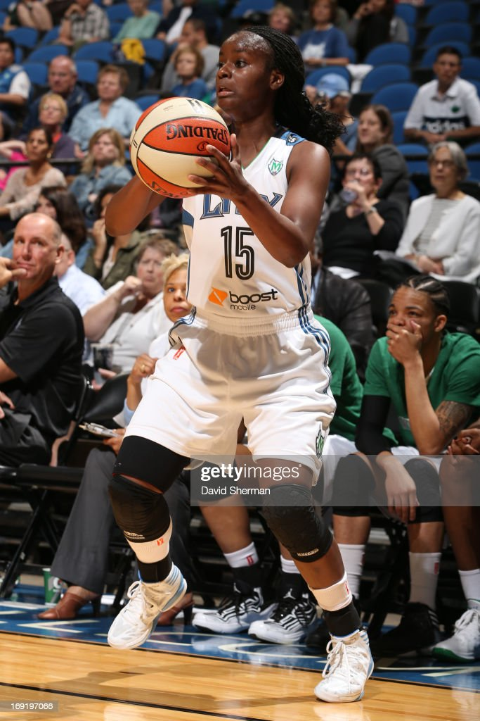 Ta'Shauna Rodgers #15 of the Minnesota Lynx shoots during the WNBA pre-season game against the Connecticut Sun on May 21, 2013 at Target Center in Minneapolis, Minnesota.