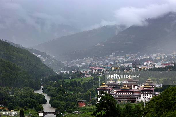 Tashichho dzong is seen in front of the main capital city Thimphu Bhutan on Aug 13 2014 It is the main secretariat building which houses the offices...
