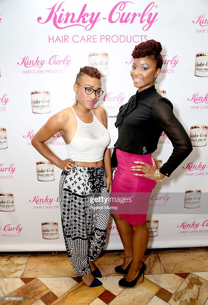 Tasia Foster (L) and Briana Hunter attend the Kinky-Curly 'Sneak Peek' event at the Four Seasons Hotel Los Angeles on April 30, 2014 in Beverly Hills, California.
