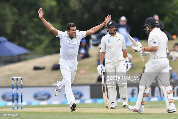 Taskin Ahmed of Bangladesh celebrates after dismissing Tom Latham of New Zealand during day two of the Second Test match between New Zealand and...