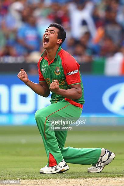 Taskin Ahmed of Bangladesh celebrates getting the wicket of Ajinkya Rahane of India during the 2015 ICC Cricket World Cup match between India and...