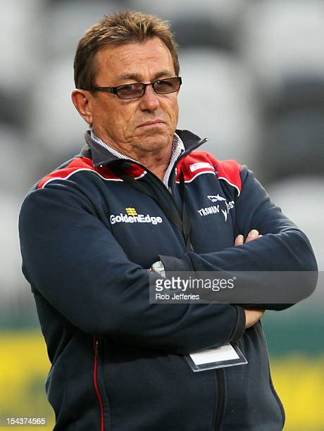 Tasman coach Kieram Keane prior to the ITM Cup Championship Semi Final match between Otago and Tasman at Forsyth Barr Stadium on October 19 2012 in...