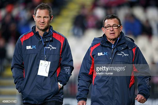 Tasman Makos coaches Kieran Keane and Leon MacDonald look on prior to the ITM Cup match between Canterbury and Tasman at AMI Stadium on October 4...
