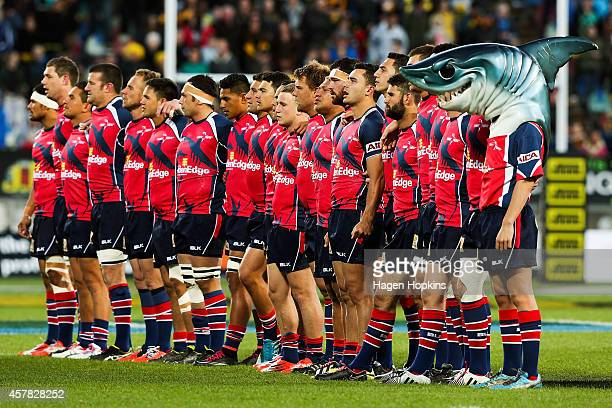 Tasman players line up for the national anthem during the ITM Cup Premiership Final match between Taranaki and Tasman at Yarrow Stadium on October 25...