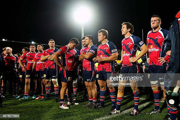 Tasman players look on in disappointment after the ITM Cup Premiership Final match between Taranaki and Tasman at Yarrow Stadium on October 25 2014...