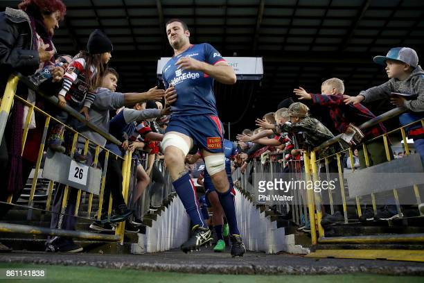 Tasman run out onto the field during the round nine Mitre 10 Cup match between Counties Manukau and Tasman at ECOLight Stadium on October 14 2017 in...