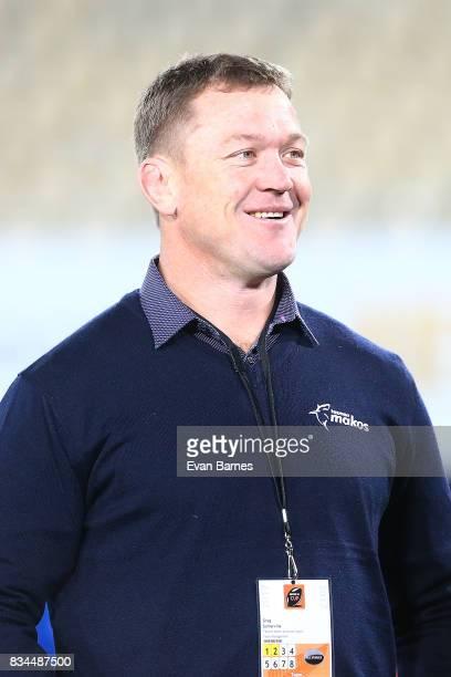 Tasman Set Piece Coach Greg Somerville during the Mitre 10 Cup round one match between Tasman and Canterbury at Trafalgar Park on August 18 2017 in...
