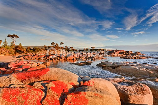 Tasmania bay of fires red rocks stock photo thinkstock for Landscaping rocks tasmania