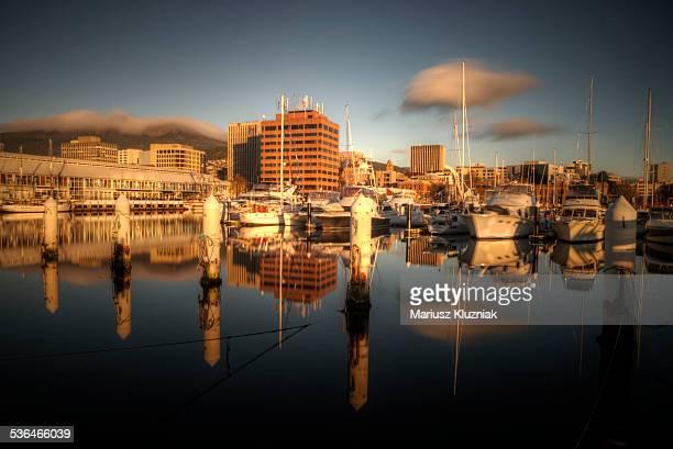 Tasmania Hobart harbour sunrise