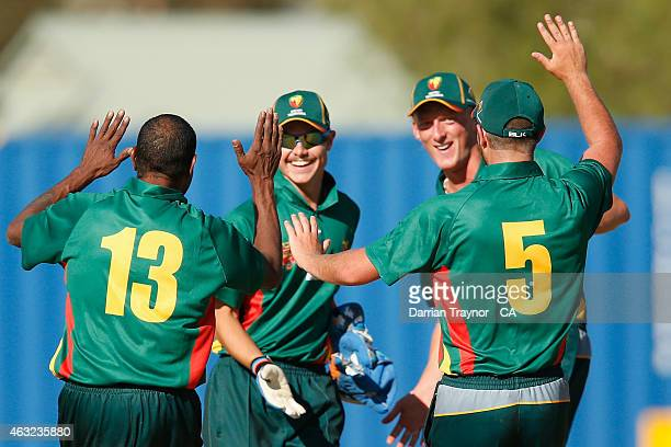 Tasmania players celebrate a wicket during the 20415 Imparja Cup on February 9 2015 in Alice Springs Australia