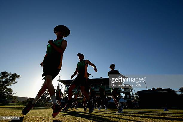 Tasmania warm up before playing New South Wales during day 3 of the National Indigenous Cricket Championships on February 10 2016 in Alice Springs...