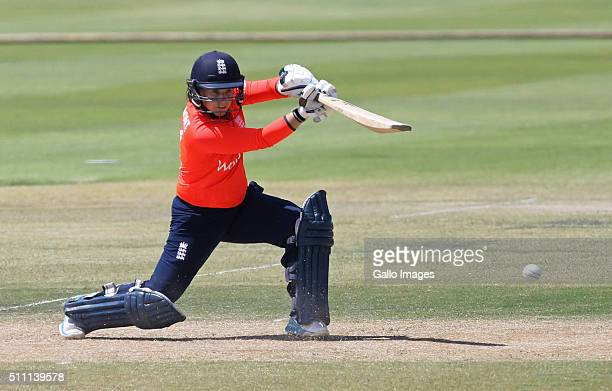 Tasmin Beaumont of England bats during the 1st T20 International match between South African Women and England Women at Boland Park on February 18...