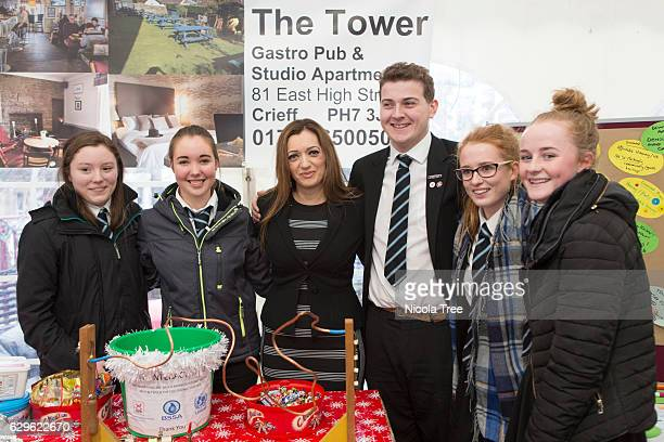 Tasmina AhmedSheikh SNP MP for Ochil and South Perthshire poses with local students as she visits a Christmas market in part of her constituency on...