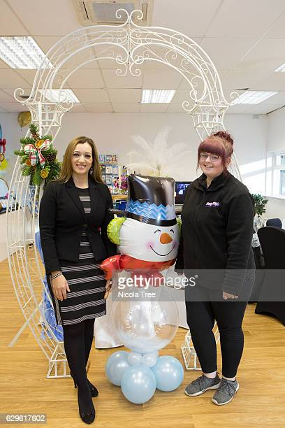Tasmina AhmedSheikh SNP MP for Ochil and South Perthshire visits a local business 'Party People On Line' in Alloa on December 9 2016 in Alloa Scotland