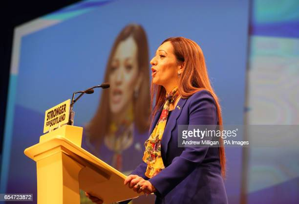 Tasmina AhmedSheikh speaks at the SNP Spring Conference at the AECC in Aberdeen