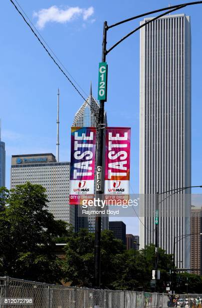 'Taste Of Chicago' banners flies along Columbus Avenue during the 37th Annual Taste Of Chicago food festival in Chicago Illinois on July 6 2017